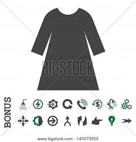 Woman Dress glyph bicolor icon. Image style is a flat iconic symbol, green and gray colors, white background.