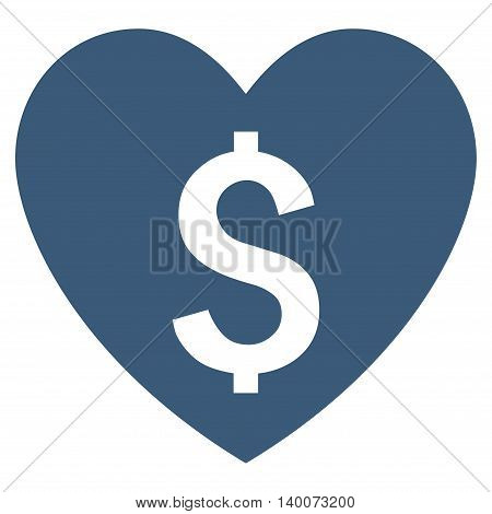 Paid Love vector icon. Style is flat symbol, blue color, white background.