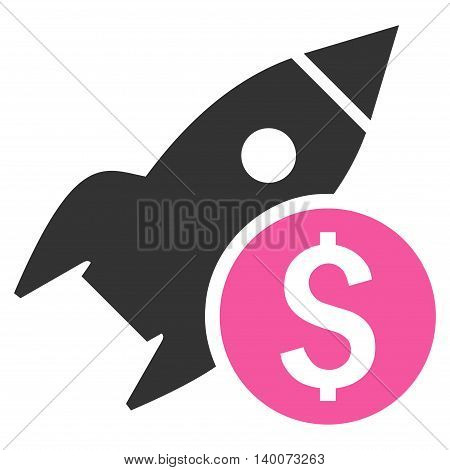 Business Startup vector icon. Style is flat symbol, pink color, white background.