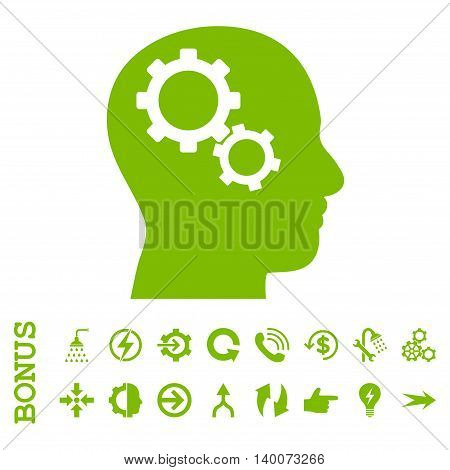 Brain Gears glyph icon. Image style is a flat iconic symbol, eco green color, white background.