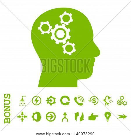 Brain Mechanics glyph icon. Image style is a flat pictogram symbol, eco green color, white background.