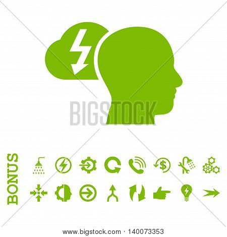Brainstorming glyph icon. Image style is a flat iconic symbol, eco green color, white background.