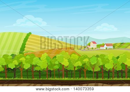 Seamless cartoon landscape with forest wood, mountains and hills with farm village houses. Landscape for game