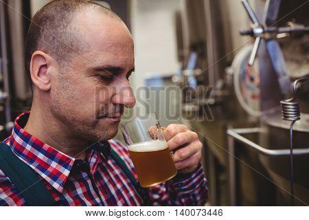 Close-up of manufacturer smelling beer in mug at brewery