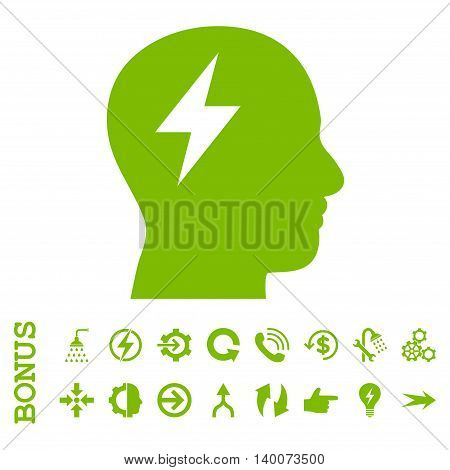 Brainstorming glyph icon. Image style is a flat pictogram symbol, eco green color, white background.