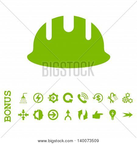 Builder Hardhat glyph icon. Image style is a flat iconic symbol, eco green color, white background.