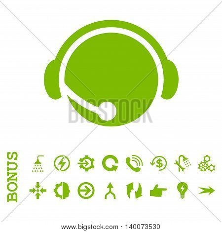 Call Center Operator glyph icon. Image style is a flat iconic symbol, eco green color, white background.
