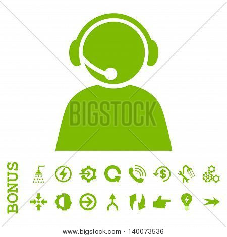 Call Center Operator glyph icon. Image style is a flat pictogram symbol, eco green color, white background.