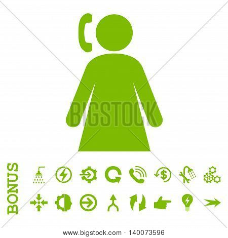 Calling Woman glyph icon. Image style is a flat pictogram symbol, eco green color, white background.