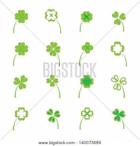 Clover leaves vector set or collection on white background. four and three leaf lucky clover leaf in flat style.
