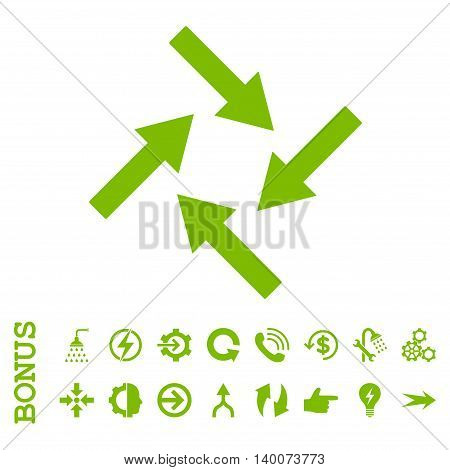 Centripetal Arrows glyph icon. Image style is a flat iconic symbol, eco green color, white background.