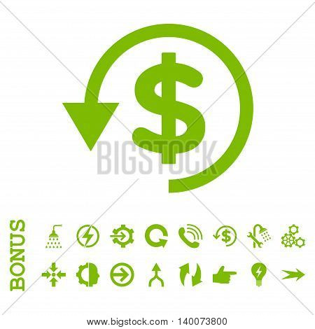 Chargeback glyph icon. Image style is a flat iconic symbol, eco green color, white background.