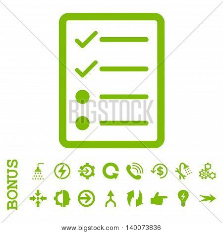 Checklist Page glyph icon. Image style is a flat iconic symbol, eco green color, white background.