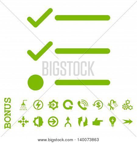 Checklist glyph icon. Image style is a flat iconic symbol, eco green color, white background.