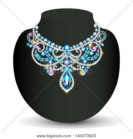 Illustration necklace female shiny beautiful wedding