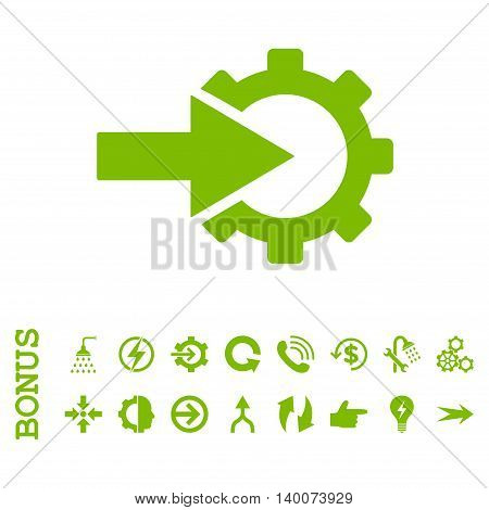 Cog Integration glyph icon. Image style is a flat pictogram symbol, eco green color, white background.