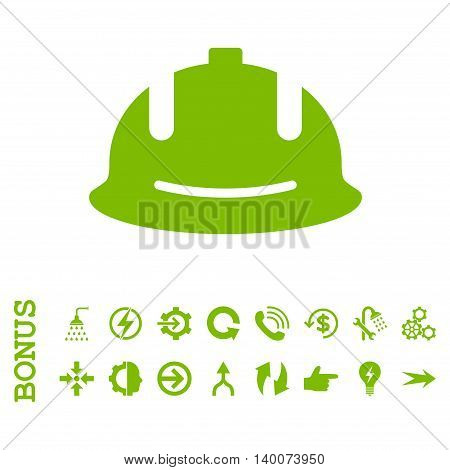 Construction Helmet glyph icon. Image style is a flat pictogram symbol, eco green color, white background.