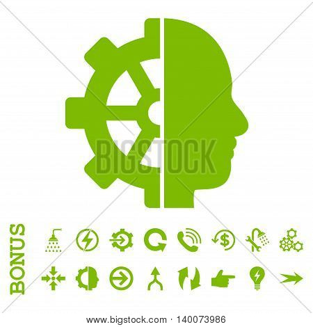 Cyborg Gear glyph icon. Image style is a flat iconic symbol, eco green color, white background.