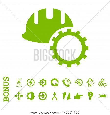 Development Hardhat glyph icon. Image style is a flat pictogram symbol, eco green color, white background.