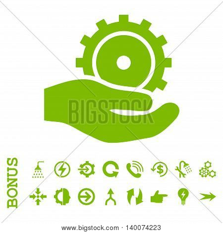 Development Service glyph icon. Image style is a flat iconic symbol, eco green color, white background.