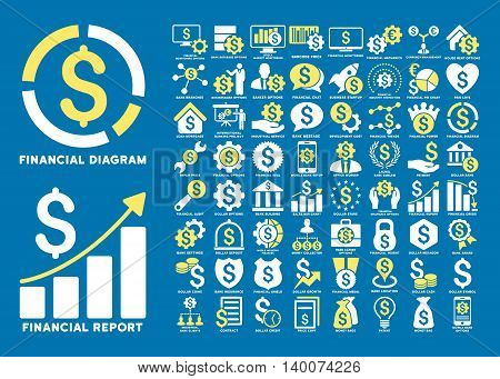 Dollar Finances Flat Vector Icons with Captions. Style is named bicolor yellow and white flat icons isolated on a blue background.