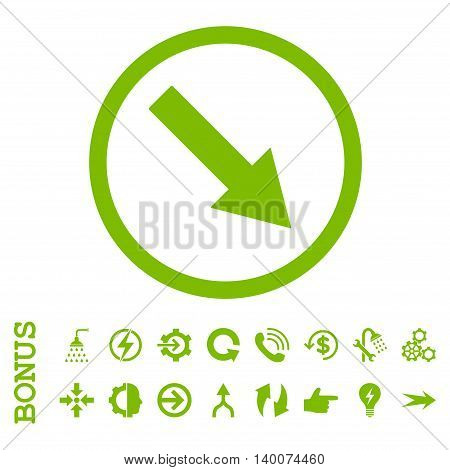 Down-Right Rounded Arrow glyph icon. Image style is a flat iconic symbol, eco green color, white background.