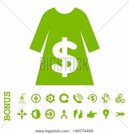 Dress Sale glyph icon. Image style is a flat iconic symbol, eco green color, white background.