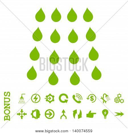 Drops glyph icon. Image style is a flat iconic symbol, eco green color, white background.