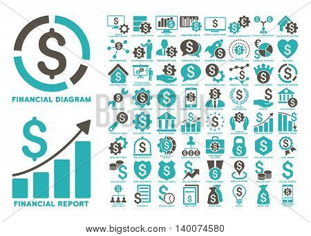 Dollar Finances Flat Vector Icons with Captions. Style is named bicolor grey and cyan flat icons isolated on a white background.