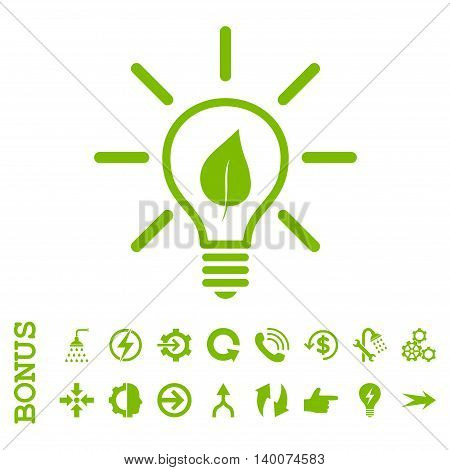 Eco Light Bulb glyph icon. Image style is a flat iconic symbol, eco green color, white background.