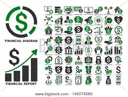 Dollar Finances Flat Vector Icons with Captions. Style is named bicolor green and gray flat icons isolated on a white background.