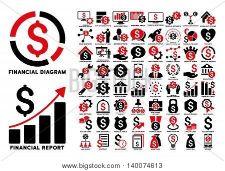 Dollar Finances Flat Vector Icons with Captions. Style is named bicolor intensive red and black flat icons isolated on a white background.