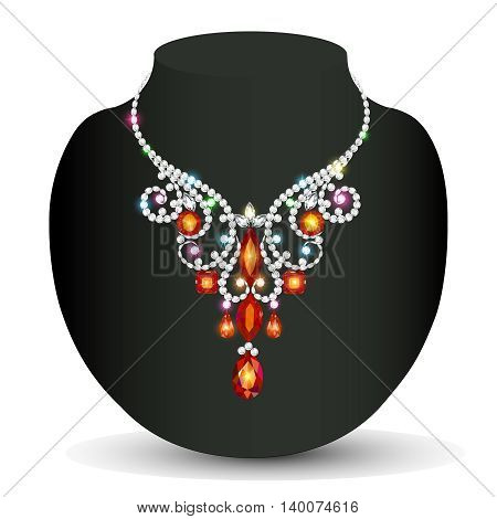 Illustration Of A Woman's Necklace Sparkling Shiny Beautiful Wed