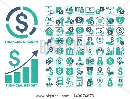 Dollar Finances Flat Vector Icons with Captions. Style is named bicolor cobalt and cyan flat icons isolated on a white background.