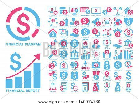 Dollar Finances Flat Vector Icons with Captions. Style is named bicolor pink and blue flat icons isolated on a white background.