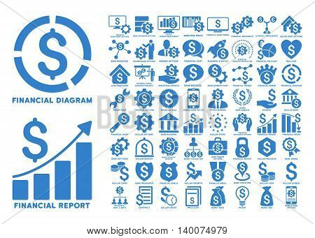 Dollar Finances Flat Vector Icons with Captions. Style is named cobalt flat icons isolated on a white background.