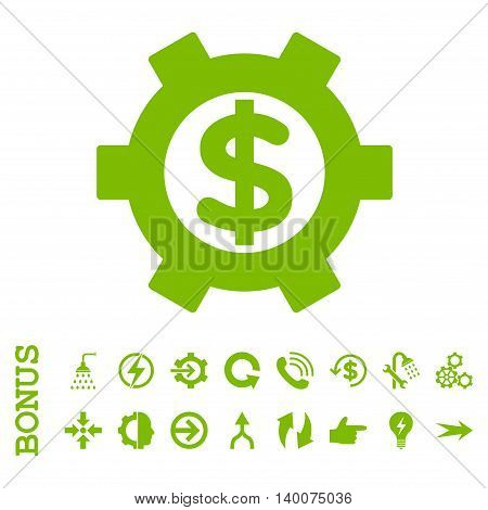 Financial Settings glyph icon. Image style is a flat pictogram symbol, eco green color, white background.