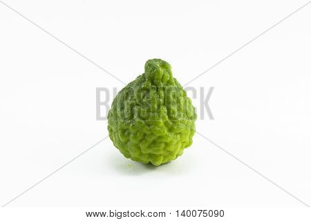 Kaffir lime isolated is fruit and leaves are used as a spice for thai food and etc.