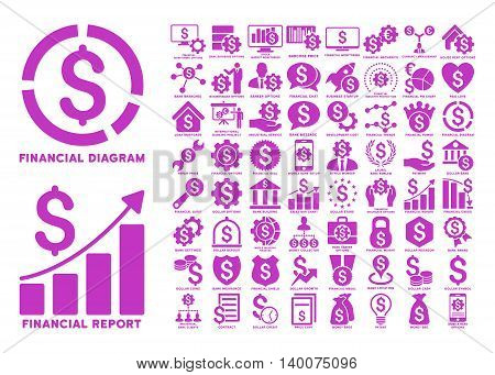 Dollar Finances Flat Vector Icons with Captions. Style is named violet flat icons isolated on a white background.