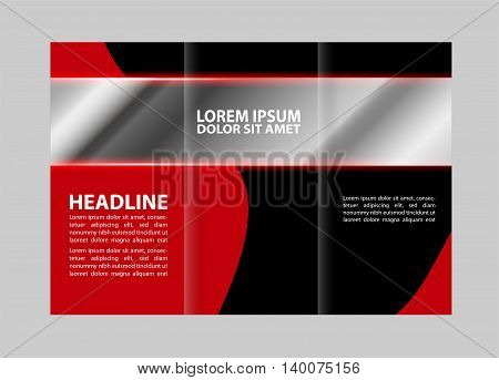 Vector empty tri-fold brochure print template design, tri-fold bright booklet or flyer