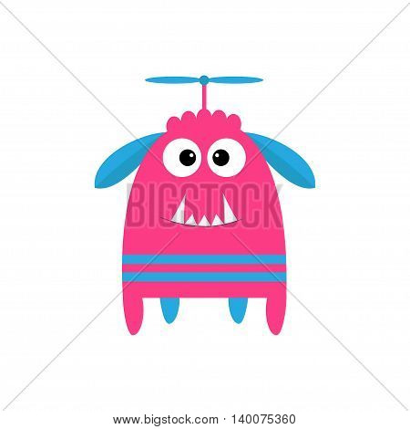 Funny monster with fang tooth and horns. Cute cartoon character. Pink color. Baby collection. Isolated. Happy Halloween card. White background. Flat design. Vector illustration.