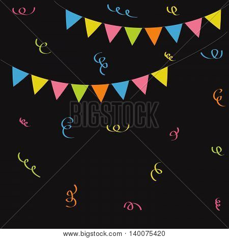 Triangle paper flags Ribbon confetti. Black background. Colorful flag set hanging on rope. Flat design. Vector illustration