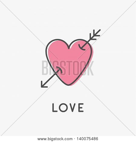 Heart arrow sign symbol. Thin line icon. Pink color. Isolated. White background. Flat design. Love greeteng card. Vector illustration