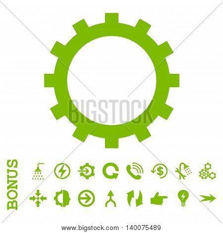 Gear glyph icon. Image style is a flat pictogram symbol, eco green color, white background.