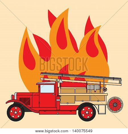 Old vintage retro fire truck with a bell on the background of fire