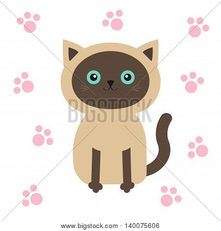 Siamese cat in flat design style. Cute cartoon character with blue eyes. Paw print. White background. Isolated. Vector illustration