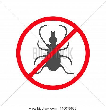 Prohibition no symbol Red round stop warning sign. Tick insect silhouette. Mite deer ticks icon. Dangerous black parasite. White background. Isolated. Flat design. Vector illustration