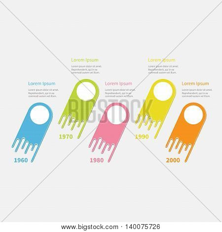 Five step Timeline Infographic. Round circles. Colorful comet shape segment. Template. Flat design. White background. Vector illustration