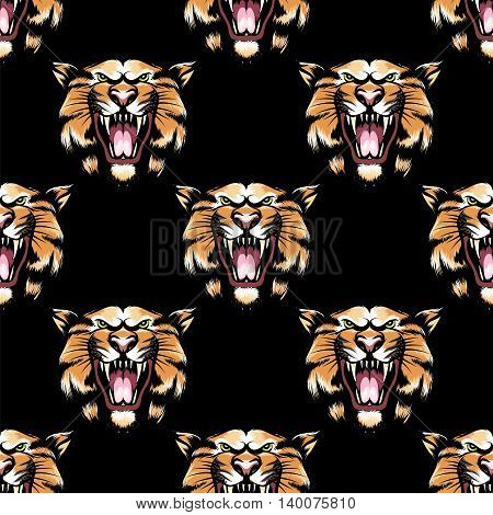 Seamless pattern with hand drawn tiger head on black background. Vector illustration