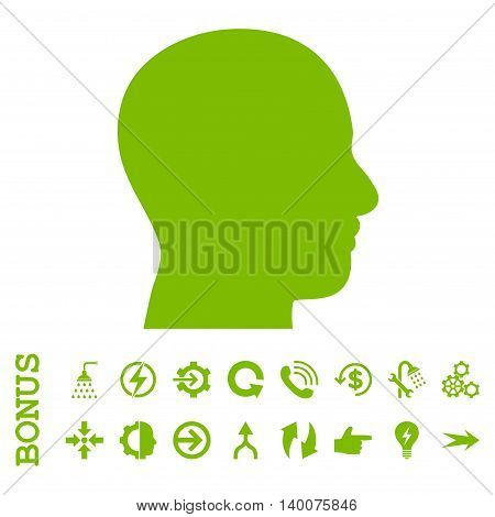 Head Profile glyph icon. Image style is a flat pictogram symbol, eco green color, white background.
